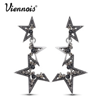 Viennois Hot Vintage Silver Color Abstract Star Earrings for Woman Rhinestone Long Dangle Earrings Punk Fashion Accessories