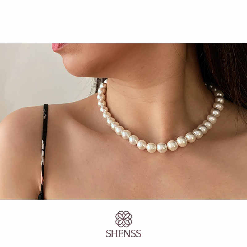 Elegant Silver 925 Jewelry Classic Temperament Wedding Necklace 4-10mm Shell Pearl Cream 925 Sterling Silver Chain for Women