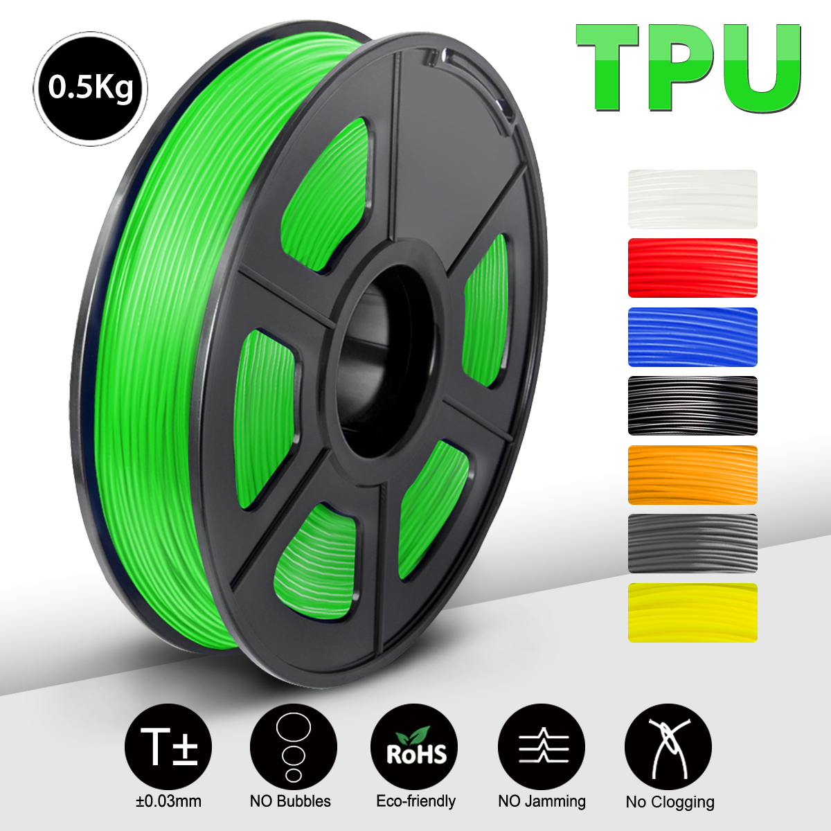 TPU Flexible Filament 1 75mm 1 kg new DIY full color 3d Printer Plastic Filament Flexible