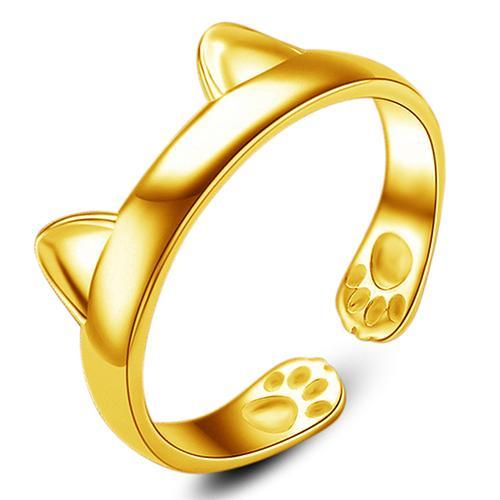 Women Cute Animal Cat Ear Claw Open Ring Finger Jewelry Xmas Gift