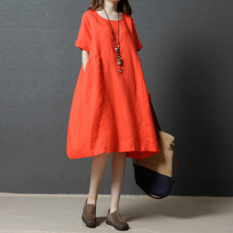 Summer 2017 Pregnant Womens Vintage Loose Big Yards National Wind Linen Dress High Quality Casual Dress Maternity Clothes CE744