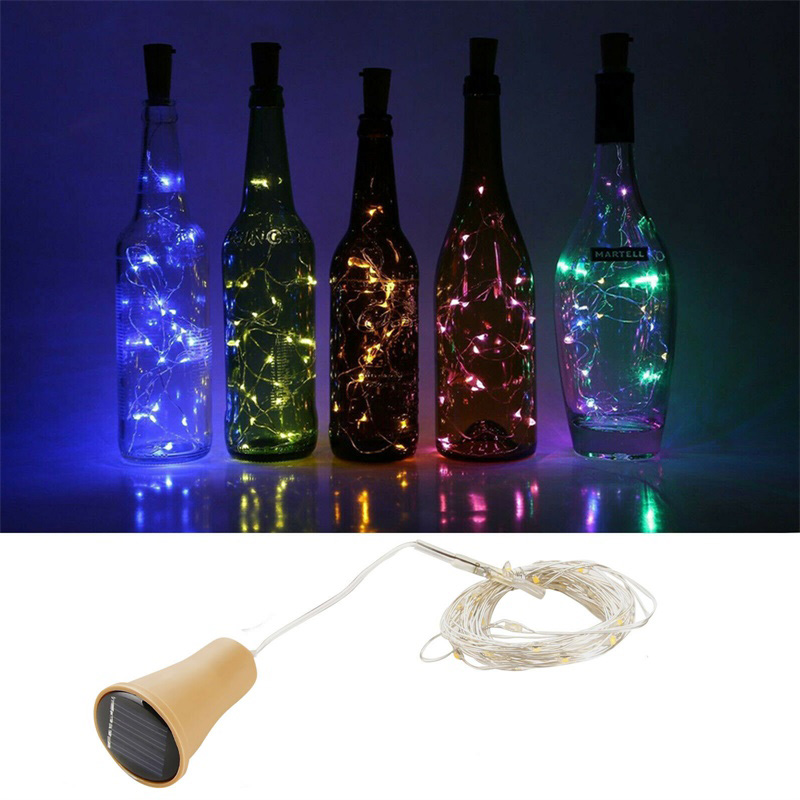 1M 1.5M 2M LED Solar Lights Powered Wine Bottle Cork Shape LED Fairy Copper Garland Festoon Wire String Lights Christmas Shining