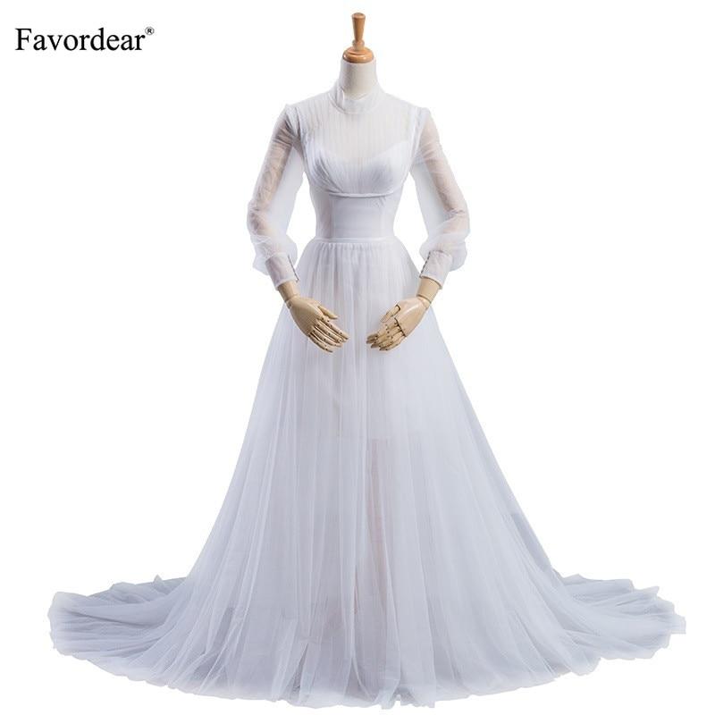Islamic Wedding Gown: Favordear 2019 High Neck Long Sleeve Muslim Wedding Dress