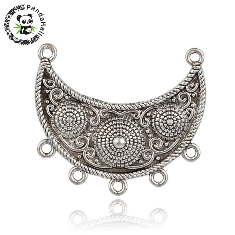 Tibetan Style Curved Alloy Moon Chandelier Components Links, 2/5Loops, Antique Silver, 44x47.5x6mm, Hole: 2.5mm