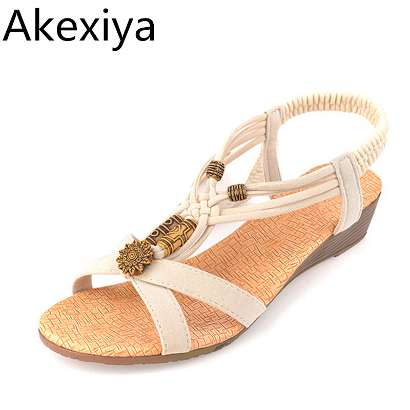 Akexiya 2017 New Summer Sandals Beading Low Heels PU Leather Women Gladiator Wedges Sandal Shoes Woman Size 36-40 phyanic 2017 gladiator sandals gold silver shoes woman summer platform wedges glitters creepers casual women shoes phy3323