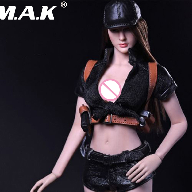 1:6 Scale Female Killer Clothing Suit Black for 12 inches Action Figure Big Breast Body