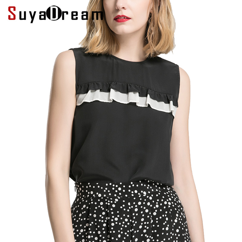 Women Summer Blouese 100 REAL SILK Crepe Black Blouse Sleeveless Office Lady Shirt 2019 Spring Summer