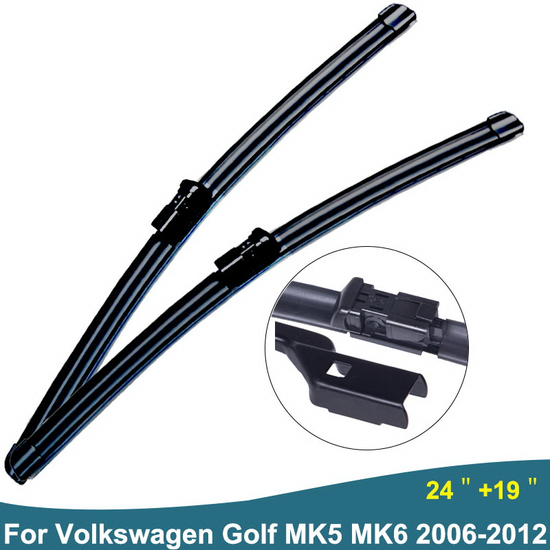 Car Windscreen Wiper Blades Fit Push Button Arms For Volkswagen Golf 6 5 MK5 MK6 Auto accessories styling Year From 2006 to 2012 wiper blades for vw golf 7 fit push button arms 2012 2013 2014 2015 2016 26 18 windscreen windshield silicone rubber car wiper