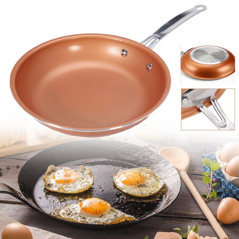 Antiadherente sartén cobre rojo pan inducción de cerámica sartén cacerola horno y lavavajillas 10 pulgadas antiadherente sartén