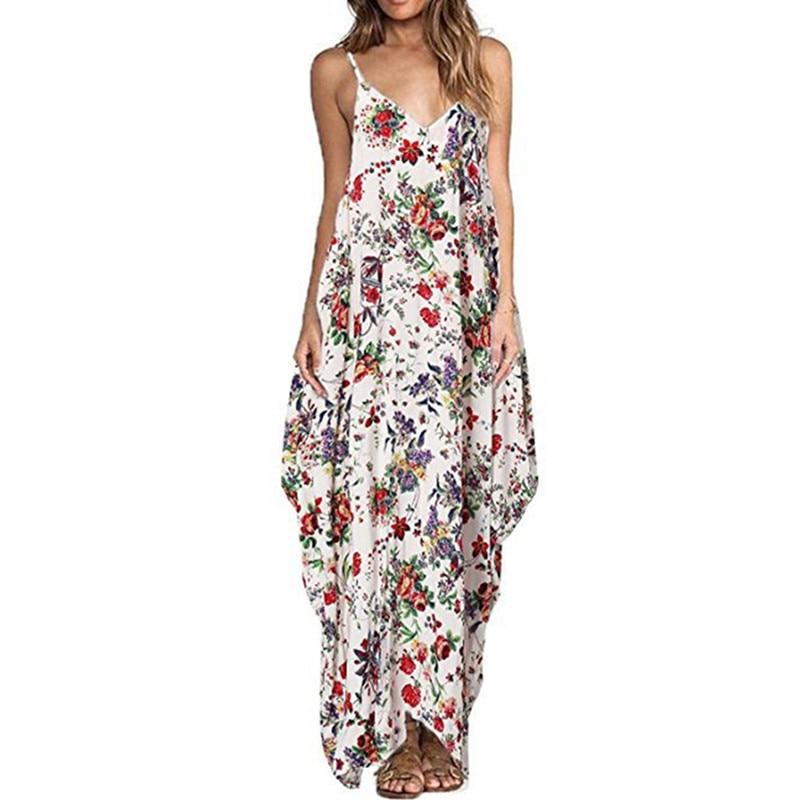 Nyomtatás Virágos laza Boho Bohemian Beach ruha Női szexi pánt V-nyakú Retro Vintage hosszú Maxi ruha nyári 2018 Plusz méret 3XL
