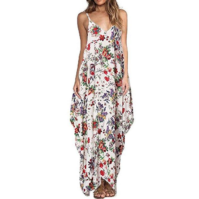Print Floral Loose Boho Bohemian Dress Women Sexy Strap V Neck Retro Vintage Long Maxi Dress