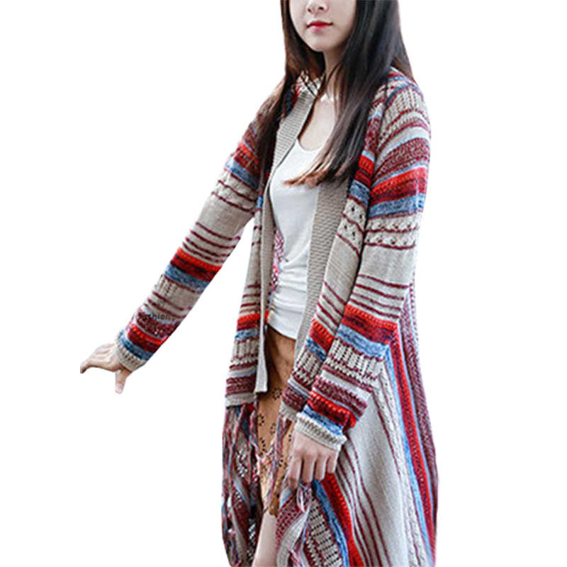 Sweater Women Nation Wind Tassel Autumn Winter Vintage Knit Cardigan Coat Long Loose Sweaters Clothing Vestidos LXJ370
