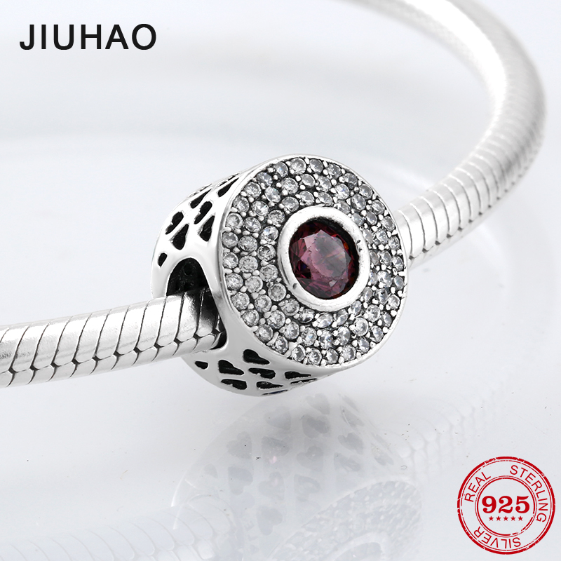 New 925 Sterling Silver hollow heart and Sparkling red CZ beads Fit Original Pandora Charm Bracelet Jewelry making
