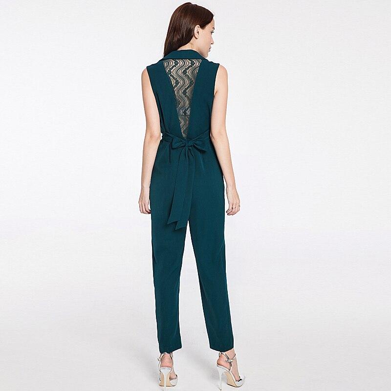 2018 Combinaisons Sexy Mode Bureau vert Navy Blue Nouveau Qualité De Élégant Été Partie Pantalons Dames Barboteuses Occasionnel Vintage Haute Professionnel qnta1wf