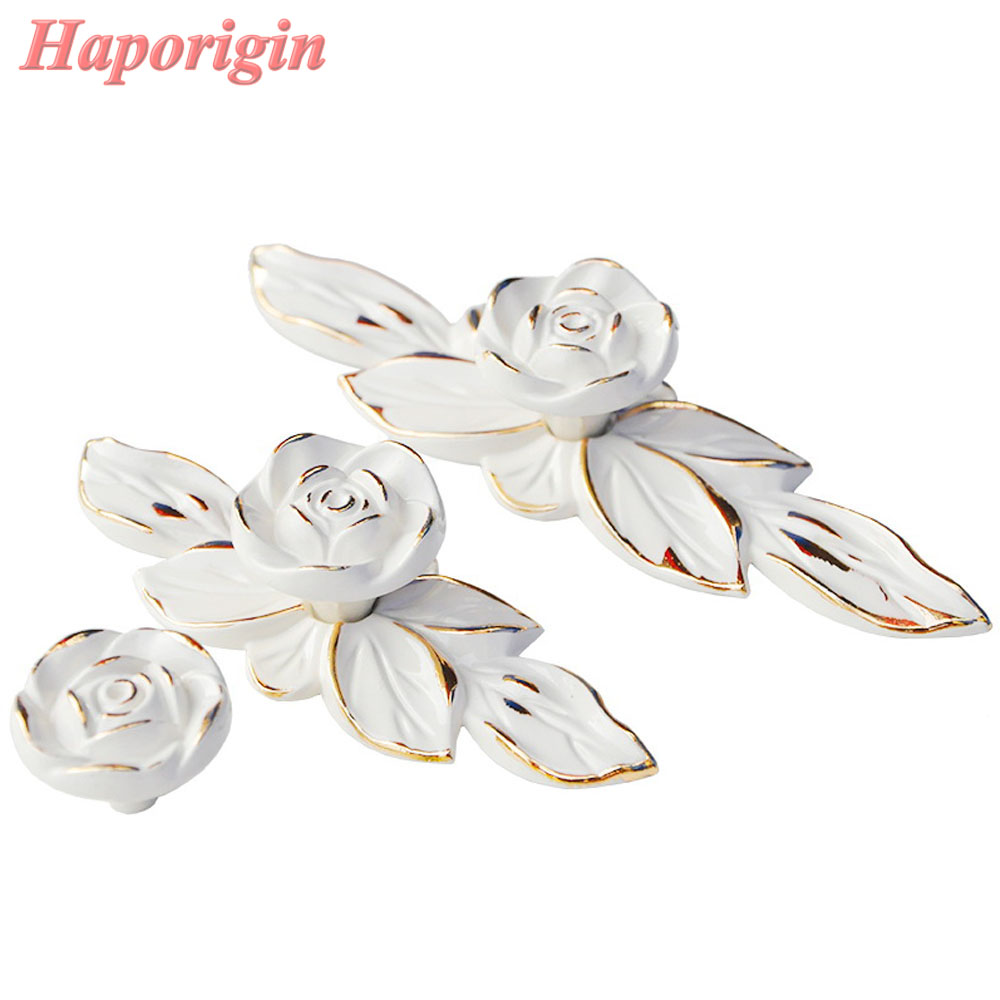 2pcs Rose Palace Kitchen Cabinet Drawer Handles Furniture Door Knobs Wardrobe Ivory Knobs Creative Cupboard Closet Dresser Pulls furniture drawer handles wardrobe door handle and knobs cabinet kitchen hardware pull gold silver long hole spacing c c 96 224mm