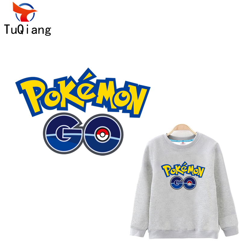 Personality letters Pokemon go Patches For Clothes Washable DIY Accessory Decoration Iron On Transfer Parches Para La Ro 24*16CM