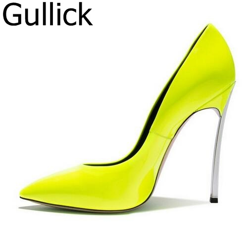 Big Size Pink Patent Leather Pointed Toe High Heel Pumps Sexy Slip-on Candy Color Women Dress Shoes Blade Heel Bride Pumps odetina women sexy stiletto pointed toe high heels ladies party shoes slip on patent leather pumps flower printing big size 43