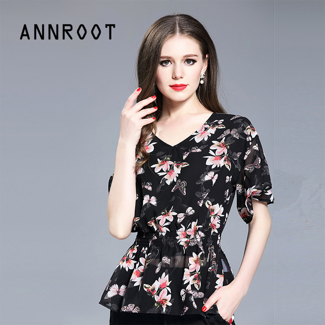 f4c2e7cfceb US $75.0 |ANNROOT Ladies' Summer Tops 2017 New Stylish V Neck Ladies Tops  Beautiful Butterfly Print Casual Women's Shirts-in Blouses & Shirts from ...
