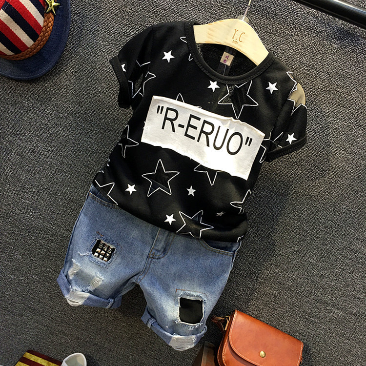 Baby boys fashion clothing set kids black stars printed t shirt and holes jean short 2pcs children casual all match clothes 2-7T new fashion kids clothes set baby boys summer 2pcs set short sleeve t shirt and striped short outfit children set