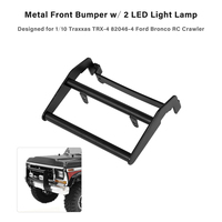 Remote Control Car Metal Front Bumper w/ 2 LED Light Lamp for 1:10 Traxxas TRX 4 82046 4 Ford Bronco RC Crawler Car