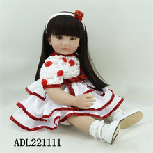 22 inch 55 cm reborn  Silicone  dolls, lifelike doll reborn babies toys Pretty cute dress doll