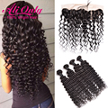 Malaysian Deep Wave 4 Bundles With Closure 7A Malaysian Virgin Hair 13x4 Lace Frontal With Bundles Remy Human Hair With Closure