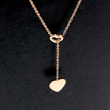 Free Shipping Hollow Heart With Shiny Heart Rose Gold Colour Stainless Steel Necklace семена rose heart 988