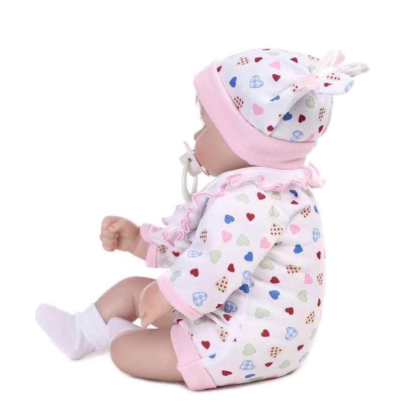 18 дюймов 45 см реалистичные возрождается кукла мягкого силикона подарки для ребенка прекрасный игрушка куклы рождественский подарок белое платье глаза открытыми