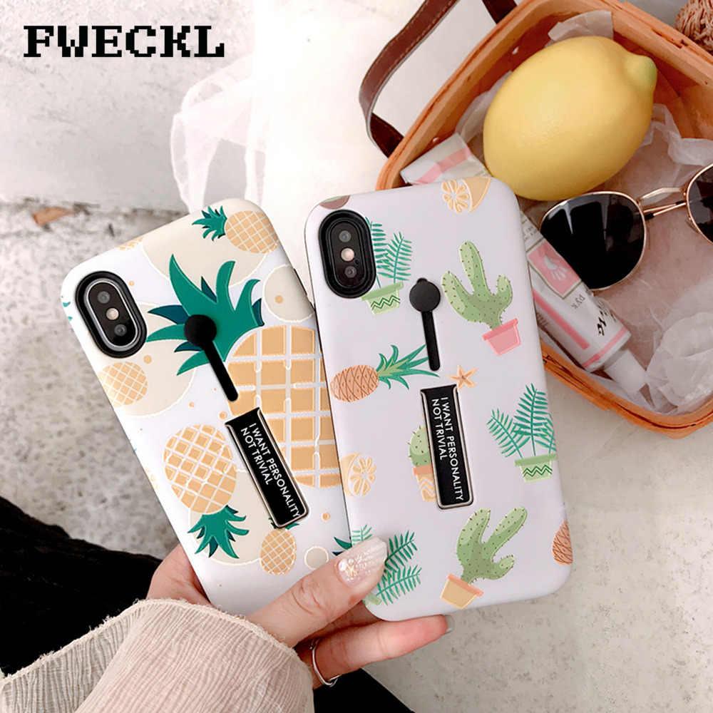 Мультфильм фрукты ананас, кактус узор телефон чехол для iPhone 6 6 S плюс X XS MAX XR 7 8 скрыть стенд держатель кольцо задняя крышка