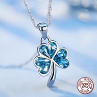 Fashion 100% S925 Sterling Silver Blue Love Heart Crystals from Swarovski Clover Charms Pendant for Women Girl Gift