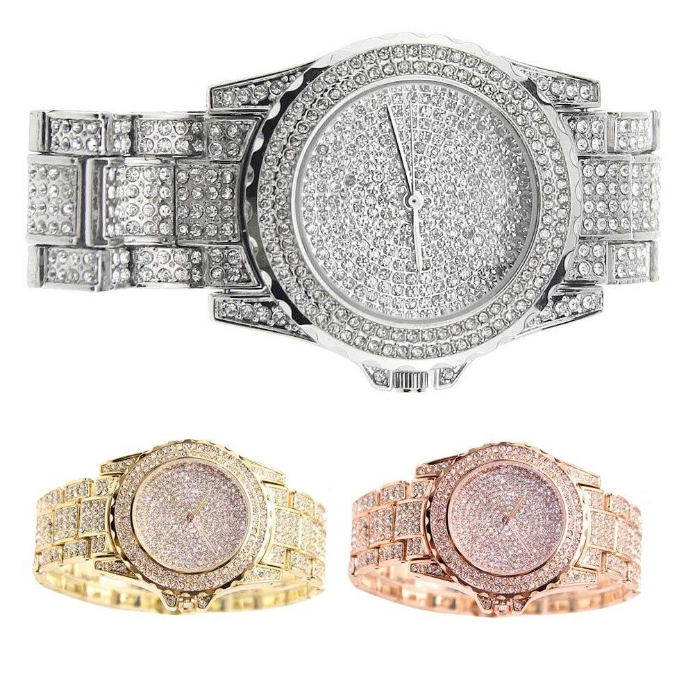 Fashion Women Watches Inlay Rhinestone Dial Clock Steel Strap Wristwatch Electronic Movement Ladies Casual Quartz Watch