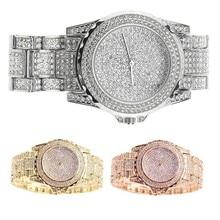 Модные женские туфли Часы инкрустация стразами циферблат часов Сталь ремень наручные часы электронные движение дамы Повседневное кварцевые часы