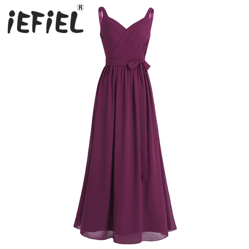 iEFiEL Elegant Women Ladies Sleeveless Pleated V Neck Chiffon Bridesmaid Summer Long Dress Princess Prom Gown Floor Length Dress