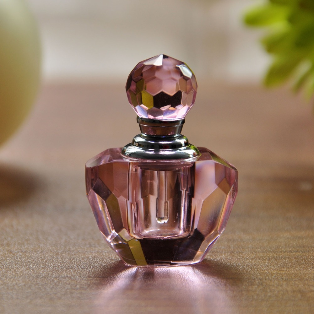 Free Shipping Pink Crystal 2ml Empty Perfume Bottle Perfume Glass Bottle Refillable Lovely Gift For Women