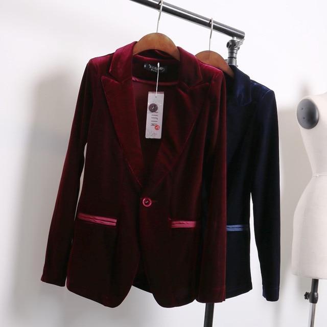 buy red blue velvet blazer women bleu marine ladies blazer designs women suit. Black Bedroom Furniture Sets. Home Design Ideas