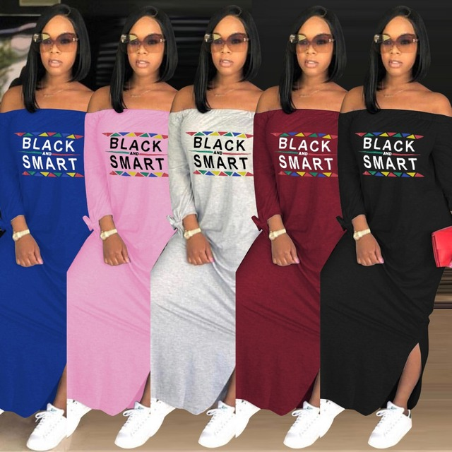 5bea817a8ad Letter Printed Casual T Shirt Dress Autumn Slash Neck Full Sleeve Lace Up  Sexy Maxi Dress Lady Plus Size Side Split Dress ASL039