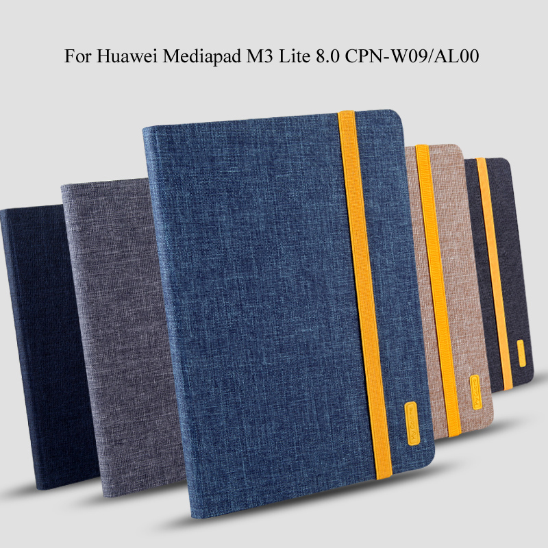 Case For Huawei Mediapad M3 Lite 8.0 CPN-L09 CPN-W09 CPN-AL00 Smart Cover Tablet Silicon+Cloth PU Leather Shell + Gift