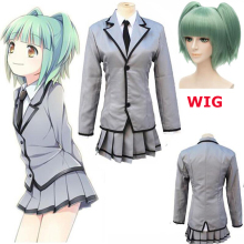 Hot Anime Assassination Classroom Ansatsu Kyoushitsu Kaede Kayano Cosplay Costume Kataoka Megu Full Set School Uniform Dress Wig цена