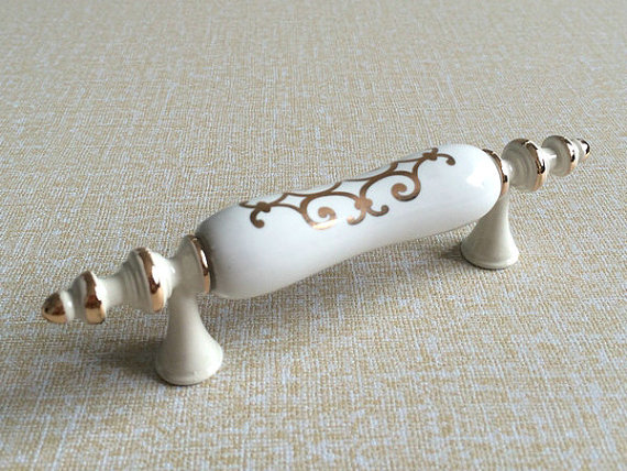 3 Ceramic Dresser Pull Drawer  Handles Knobs White Cream Gold Kitchen Cabinet Pulls Door Handle Knob Furniture Hardware 76 mm retro bin drawer pull dresser knobs handles shell cup kitchen cabinet handles door handle black silver furniture hardware