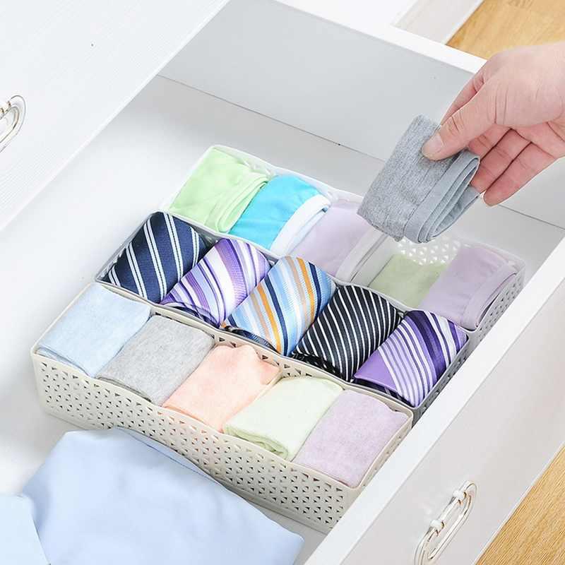 5 Grids Kunststoff Container Organizer Kleiderschrank Lagerung Box Korb Veranstalter Frauen Männer Socken Bh Unterwäsche Lagerung Box