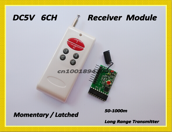 1000M 6CH RF Transmitter Receiver Module with Decoding Wireless Remote Control System Momentary Latched TTL 6CH