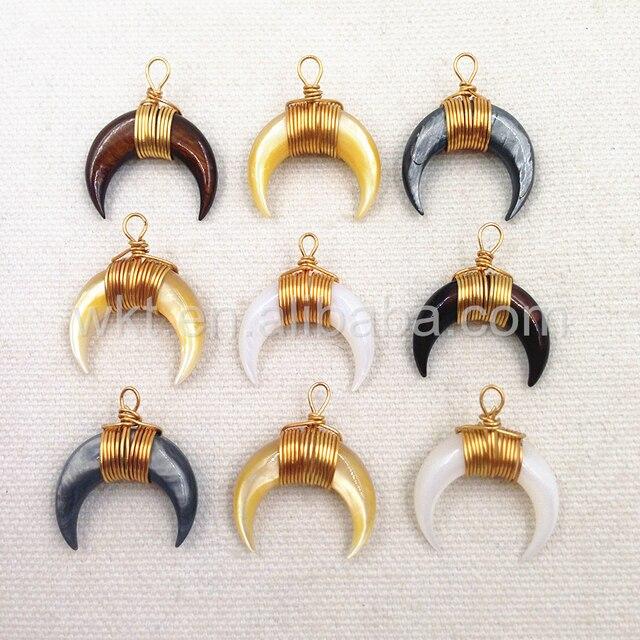 Wt p846 wholesale moon crescent shape tiny shell horn gold trim wt p846 wholesale moon crescent shape tiny shell horn gold trim shell pendant mixed color aloadofball Image collections