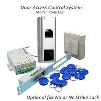 waterproof Metal Fingerprint Access Control Kit + Long type Electric Strike Lock+10 RFID keyfob Card Full Door Lock System