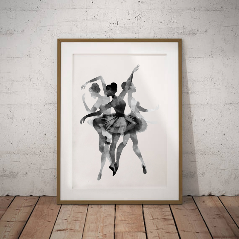 Watercolor ballerina in dance canvas wall art print poster black and white abstract ballerina dancer poster wall pictures in painting calligraphy from