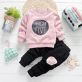 girls pink sweatshirts clothing suits blouse + causal winter pants kids girl velvet clothes sets 2 Pcs letter printed bebe coat