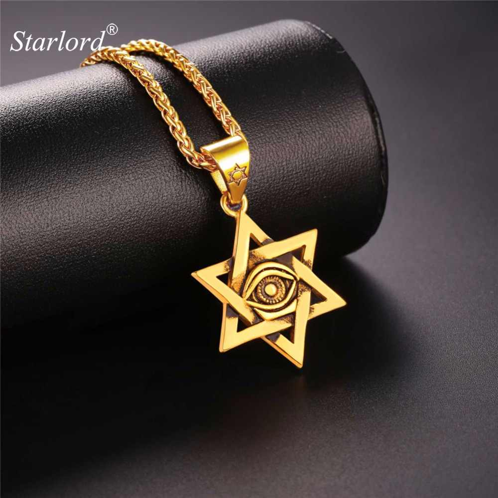 Starlord Star of David Necklace Pendant with Evil Eye Stainless Steel/Gold Jewish Magen David Star Jewelry For Men GP2428