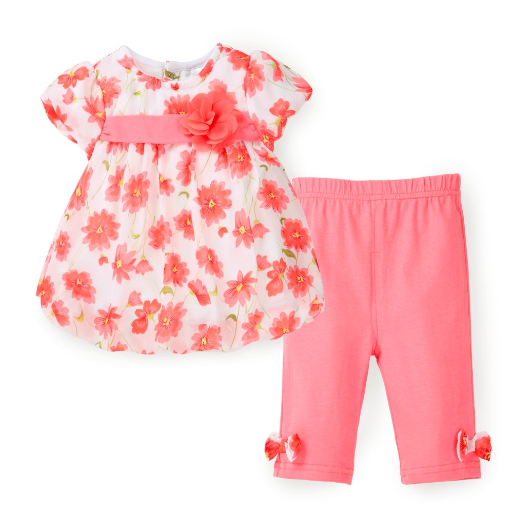 Floral Kids Girls Clothes Summer Top Set Шифон көйлек + Capri шалбар 2 PCS Baby Girl Clothes Suit Toddler Fashion Clothing