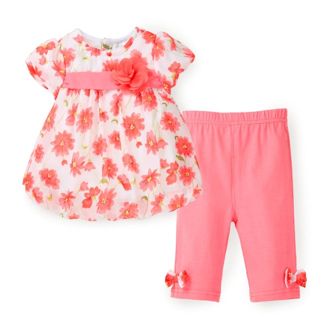 Floral Kids Girls Clothes Summer Top Set Chiffon T shirt + Capri Pants 2 PCS Baby Girl Clothes Suit Toddler Fashion Clothing