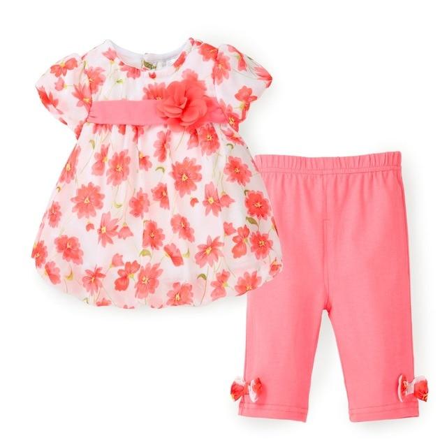 Florales Muchachas de Los Cabritos Ropa de Verano Top de Gasa Conjunto camiseta + Pantalones Capri 2 UNIDS Ropa Del Bebé Traje de Niño de Ropa de Moda
