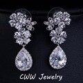 Elegant Heart Shape Flower Clear Long Tear Drop CZ Imitated Diamond Bridal Crystal Wedding Earrings For Brides CZ199